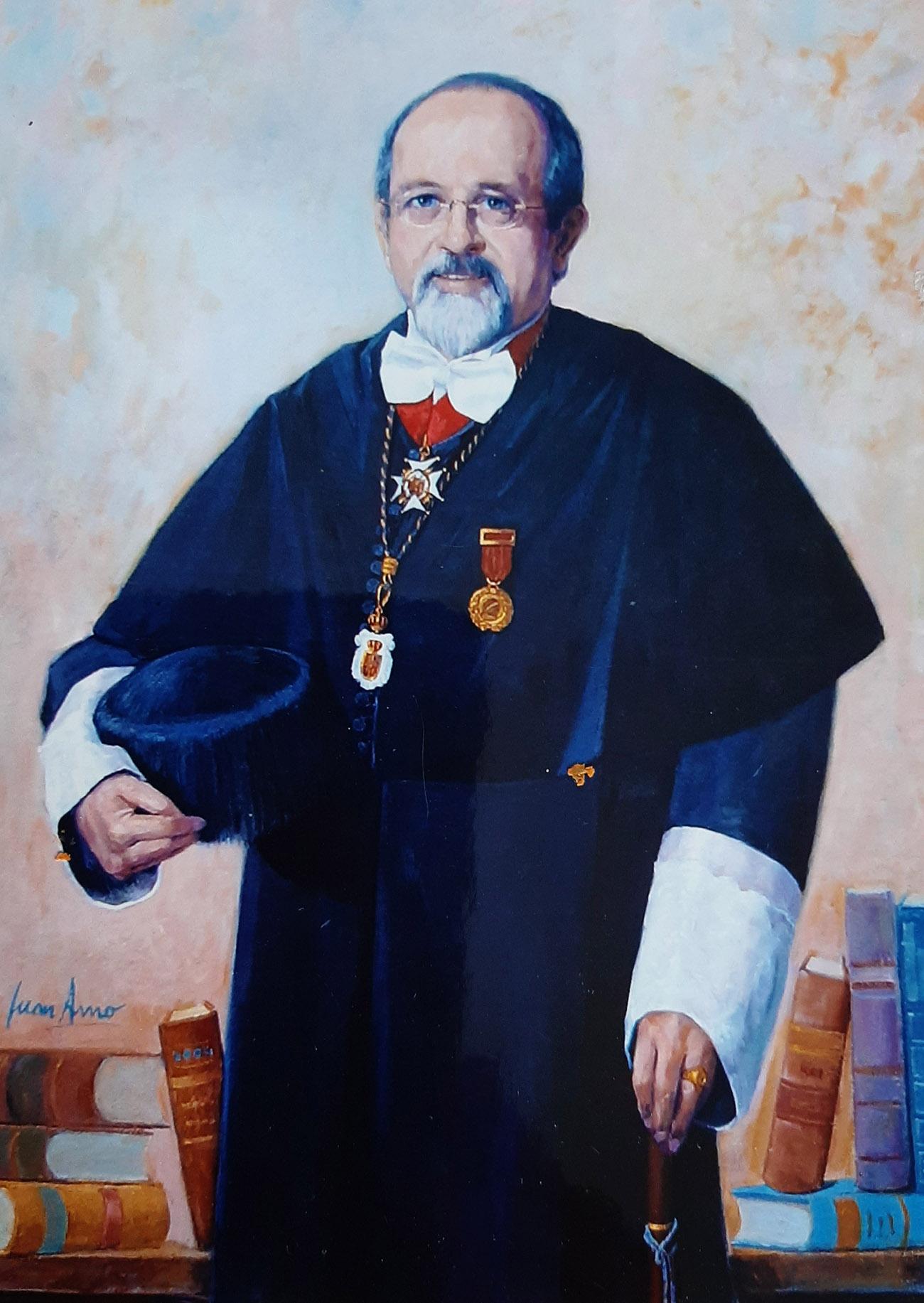 LUIS ARROYO ZAPATERO. RECTOR HONORARIO UCLM. Óleo de Juan Amo. Rectorado Universidad Castilla - La Mancha. Ciudad Real.