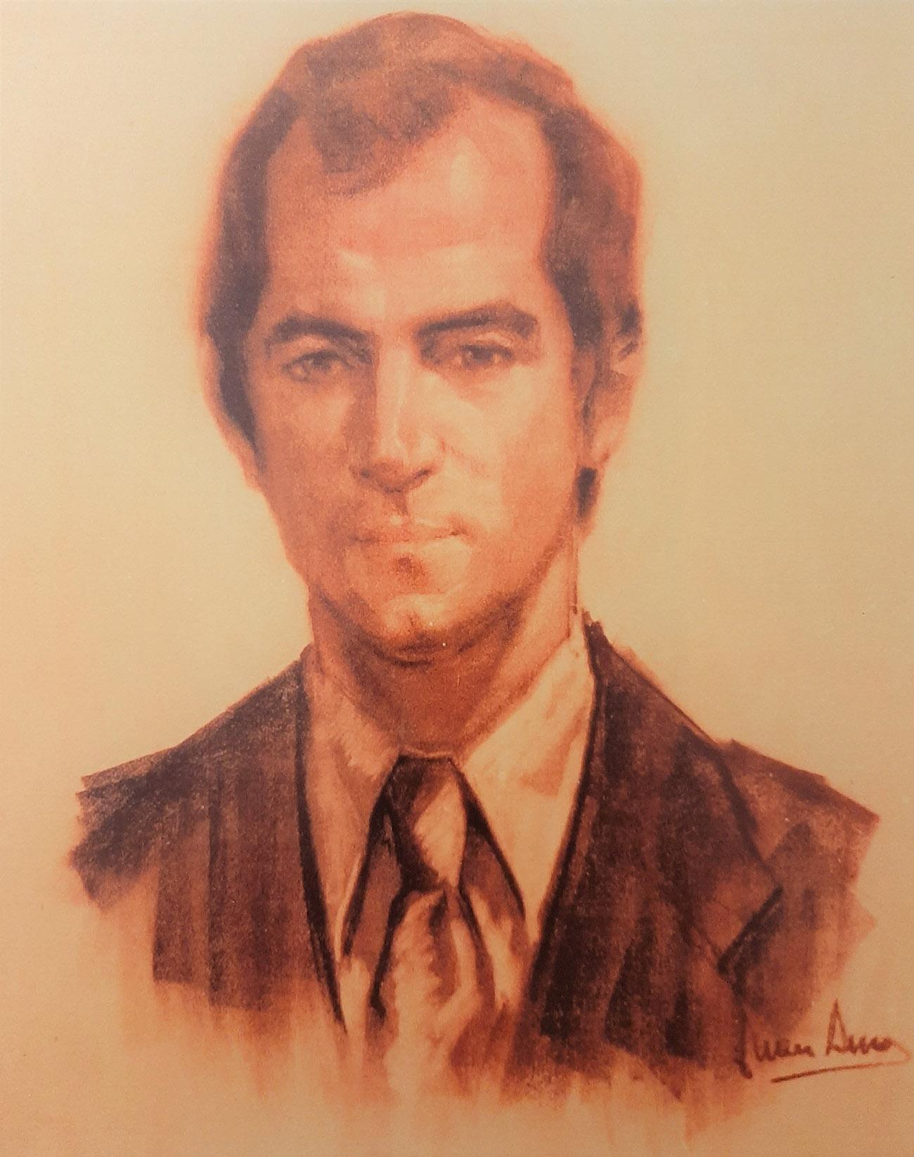 ÁNGEL CUENCA. Retrato Dibujo de Juan Amo.