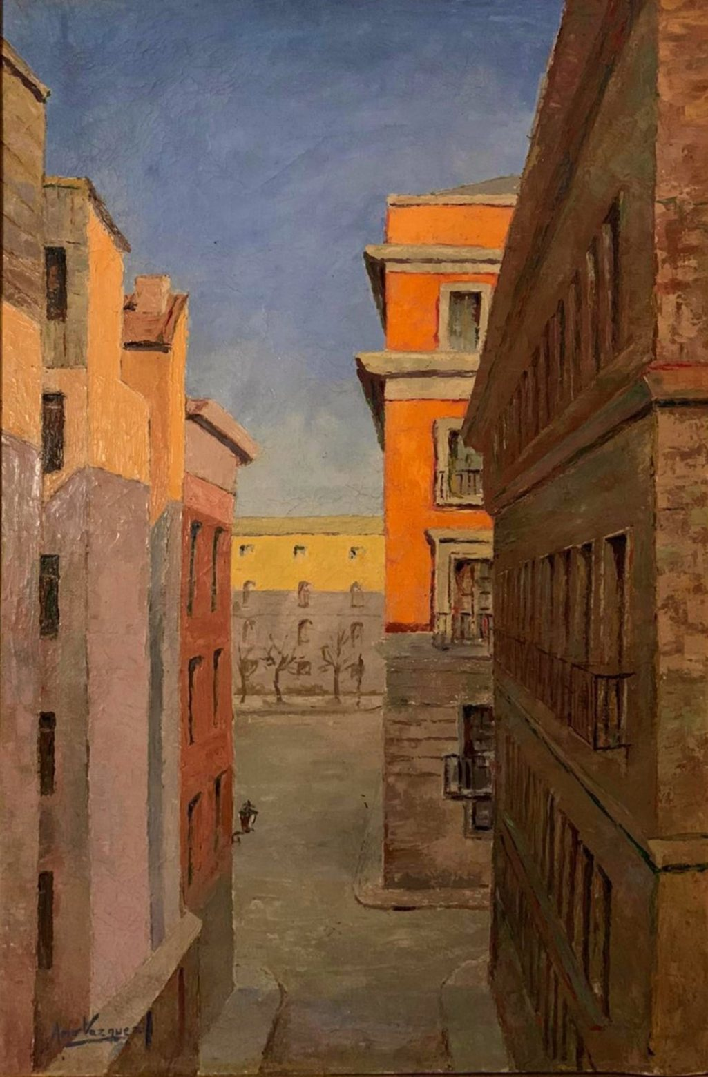 Juan Amo. (1955). Calle de Madrid. Óleo - Lienzo. 120 x 70. Colección Privada.