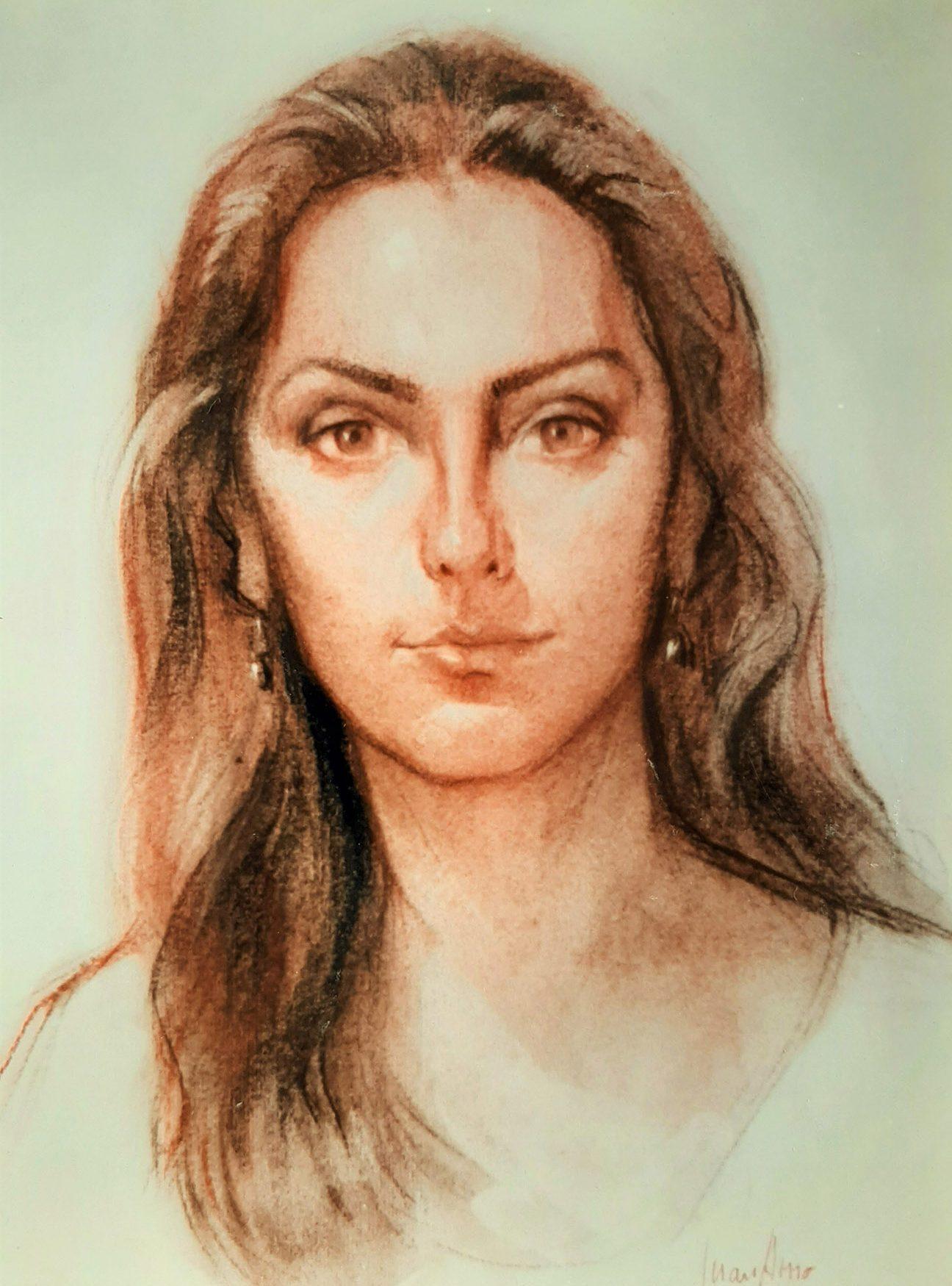 CONSUELO LÓPEZ MORENO. Retrato Dibujo de Juan Amo.