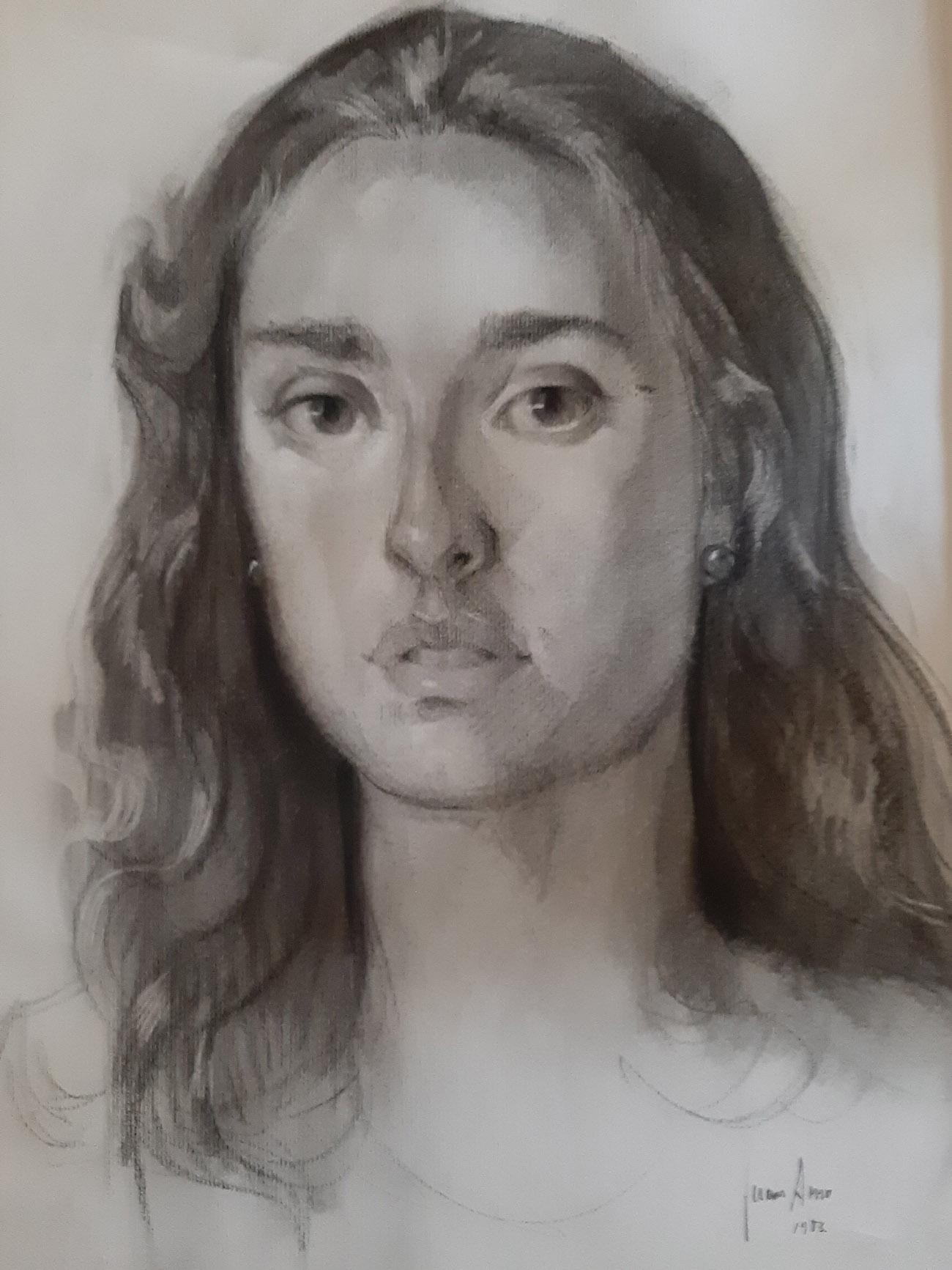 ELISA AMO SAUS. Retrato Dibujo de Juan Amo.