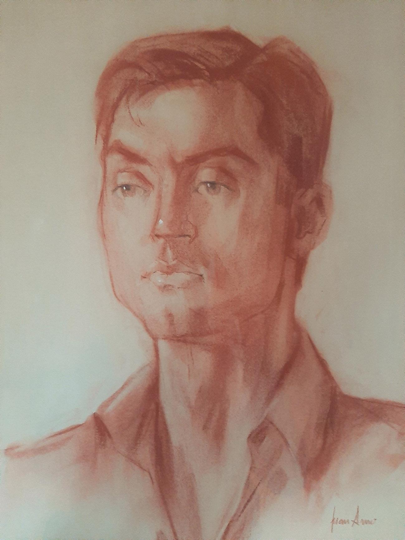 ENRIQUE GONZÁLEZ CORTÉS. Retrato Dibujo de Juan Amo.