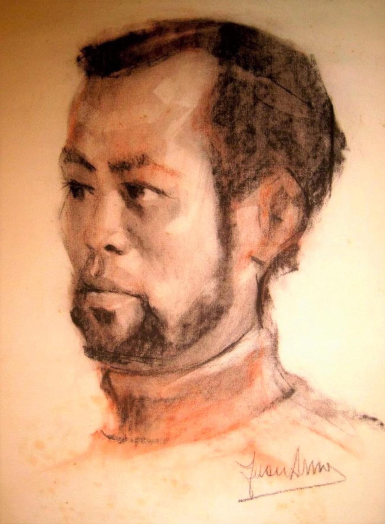 FEDERICO ALGUILAR ALCUÁZ. Retrato Dibujo de Juan Amo.