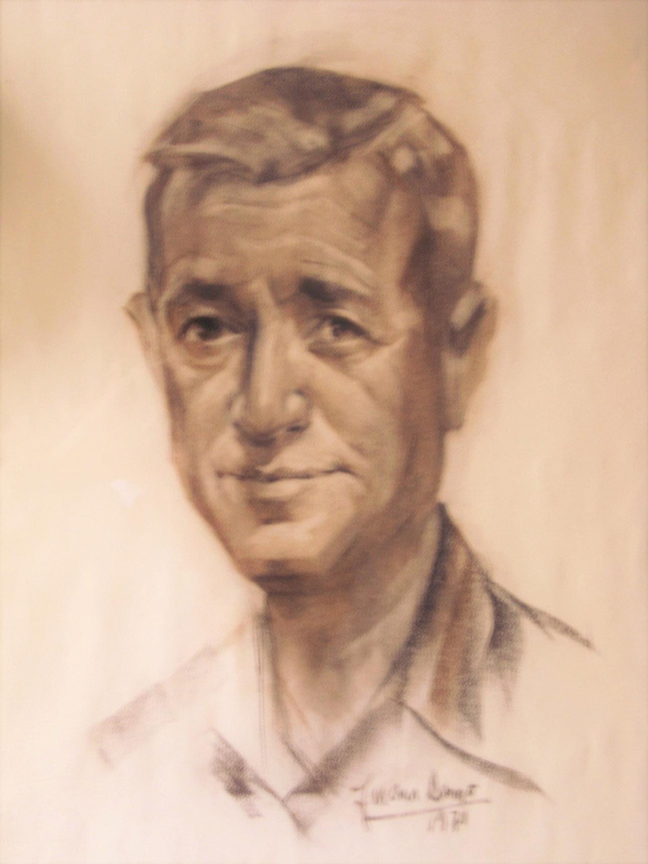 JAVIER SÁNCHEZ CARRILERO. Retrato Dibujo de Juan Amo.