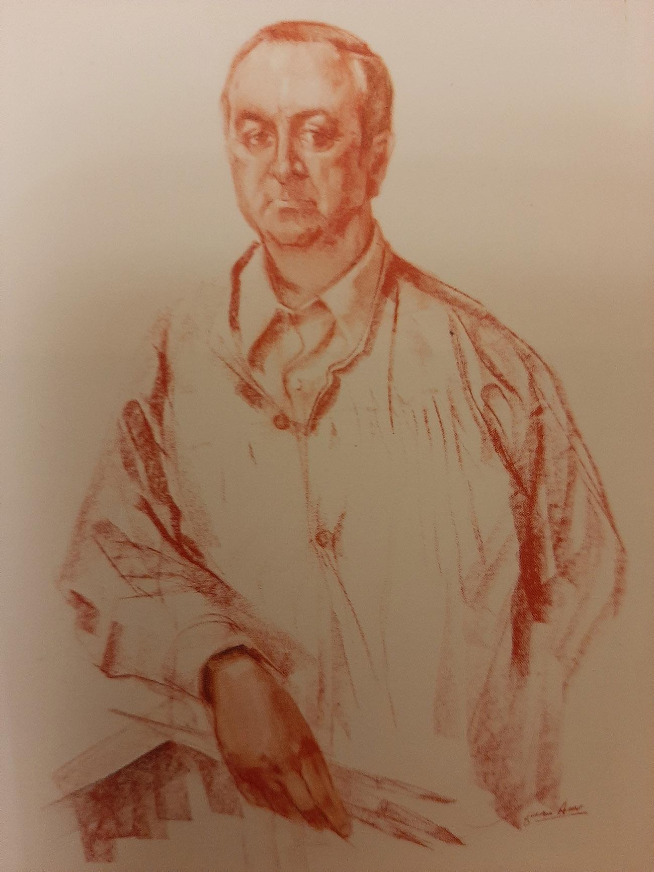 JOSÉ ANTONIO LOZANO. Retrato Dibujo de Juan Amo.