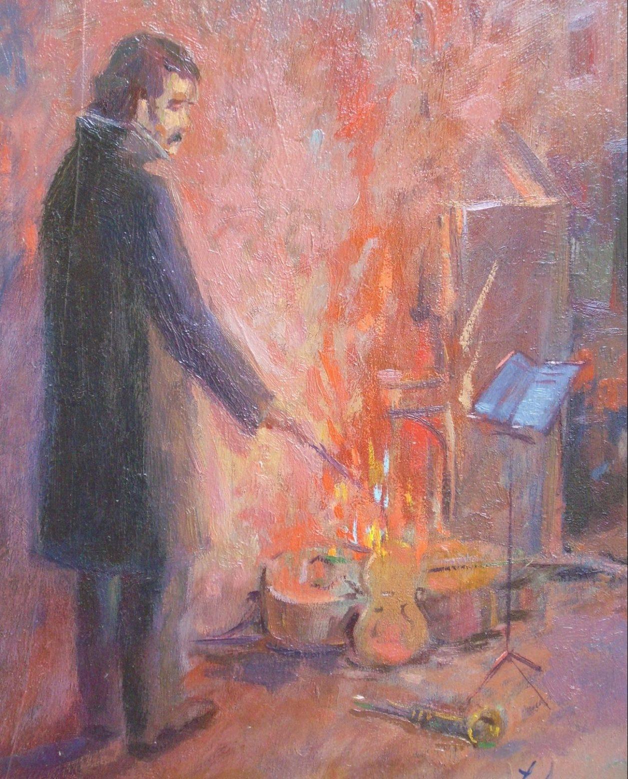 Juan Amo. 1959. El Valor del Arte. Óleo - Tabla. Colección Privada.