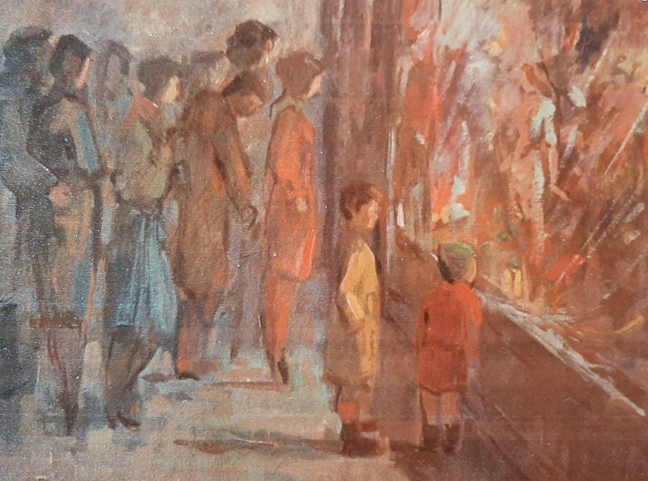 Juan Amo. (1961). Grandes Almacenes. Óleo - Tabla. Colección Privada.