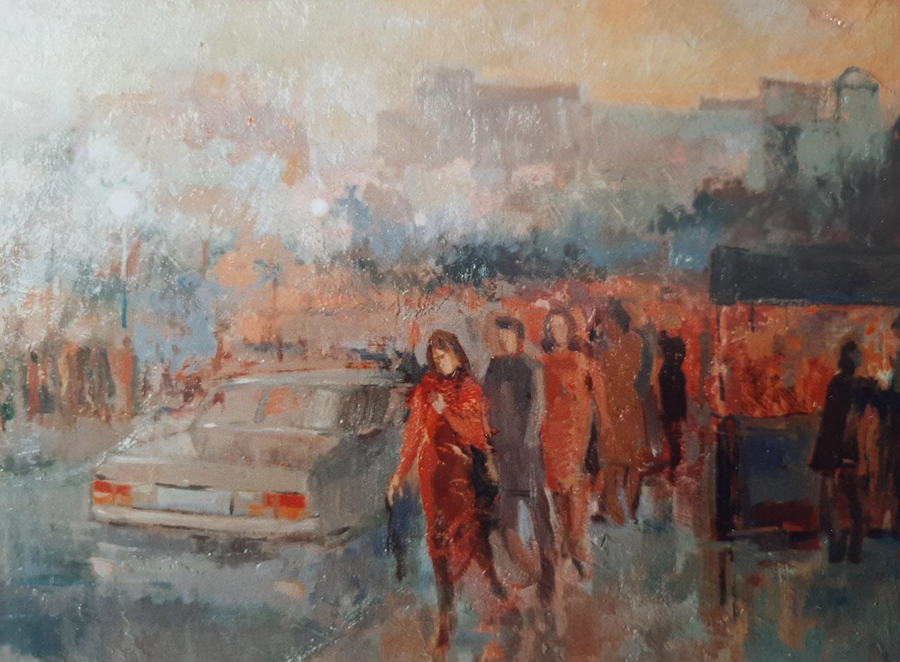Juan Amo. (1964). Chirimiri en Bilbao. Óleo - Tabla. Colección Privada.