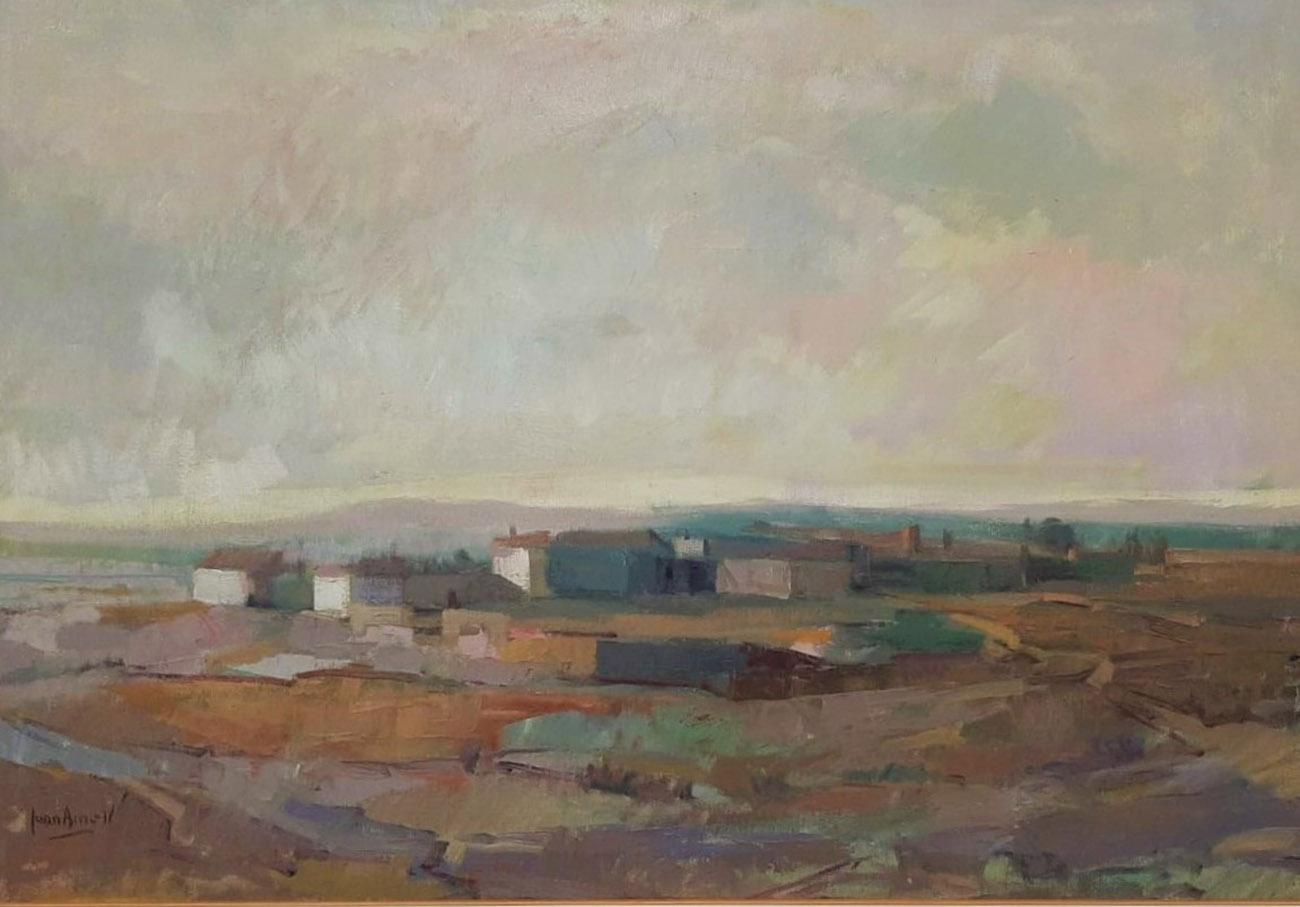 Juan Amo. (1976). Pueblo Manchego. Óleo - Lienzo. AFAEPS.