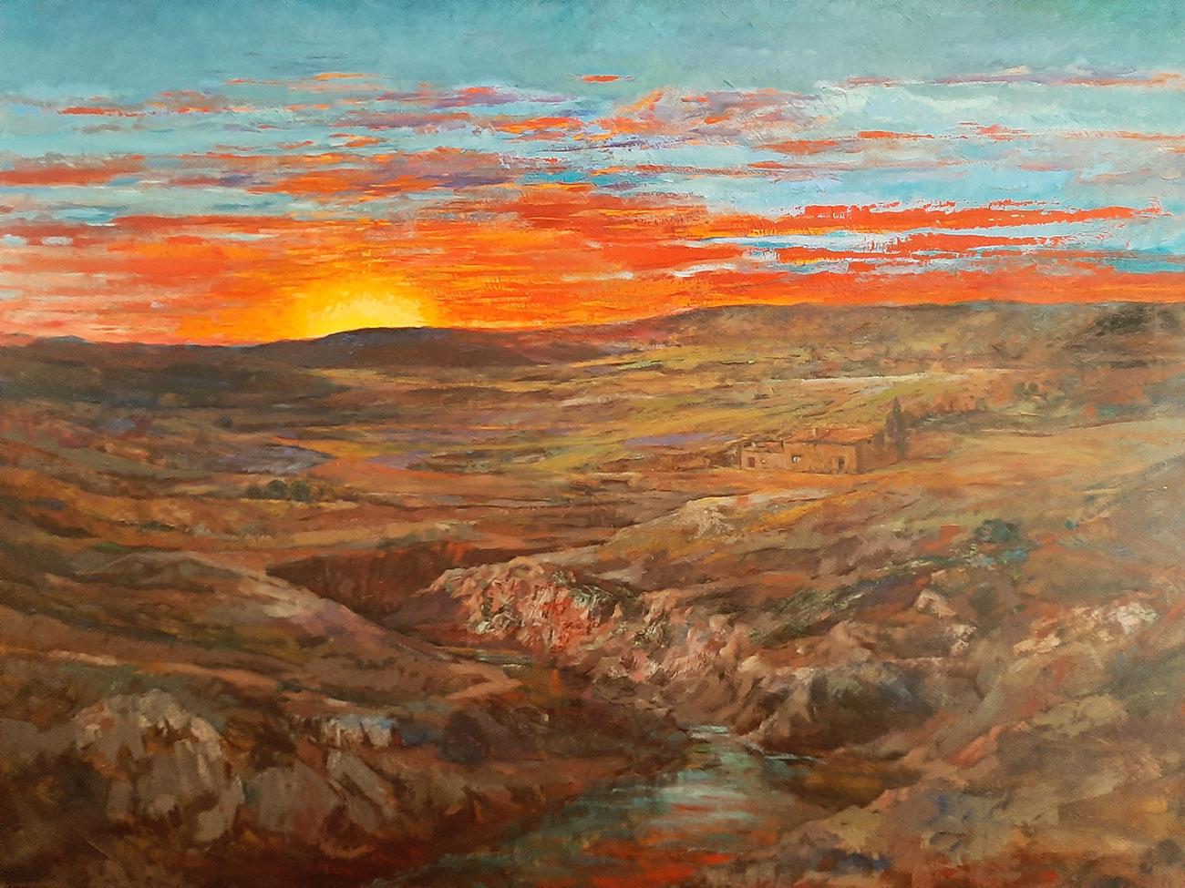 Juan Amo. (1977). Cuando muere el día. Óleo - Lienzo. 114 x 146. Colección Privada.