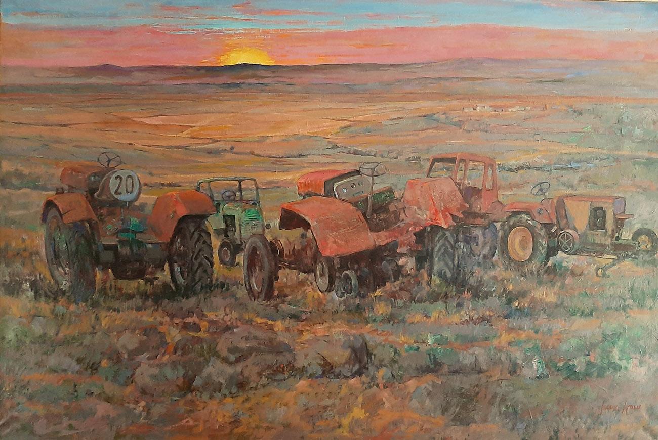 Juan Amo. (1977). Tractores abandonados. Óleo - Lienzo. 130 x 195. Colección Privada.