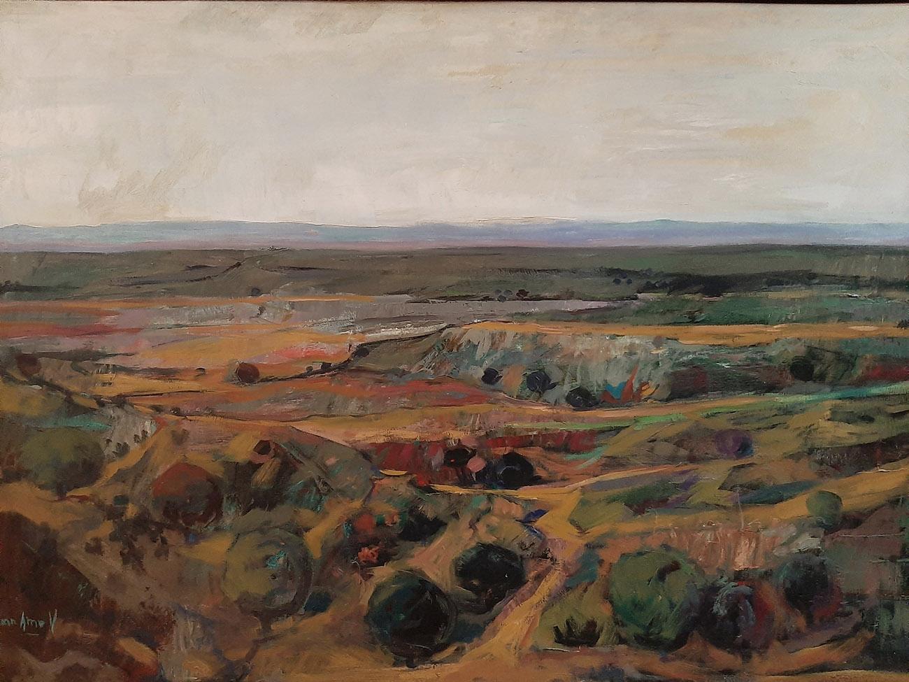 Juan Amo. (1979). La Mancha Serrana. Óleo - Lienzo. 67 x 94. Colección Privada.