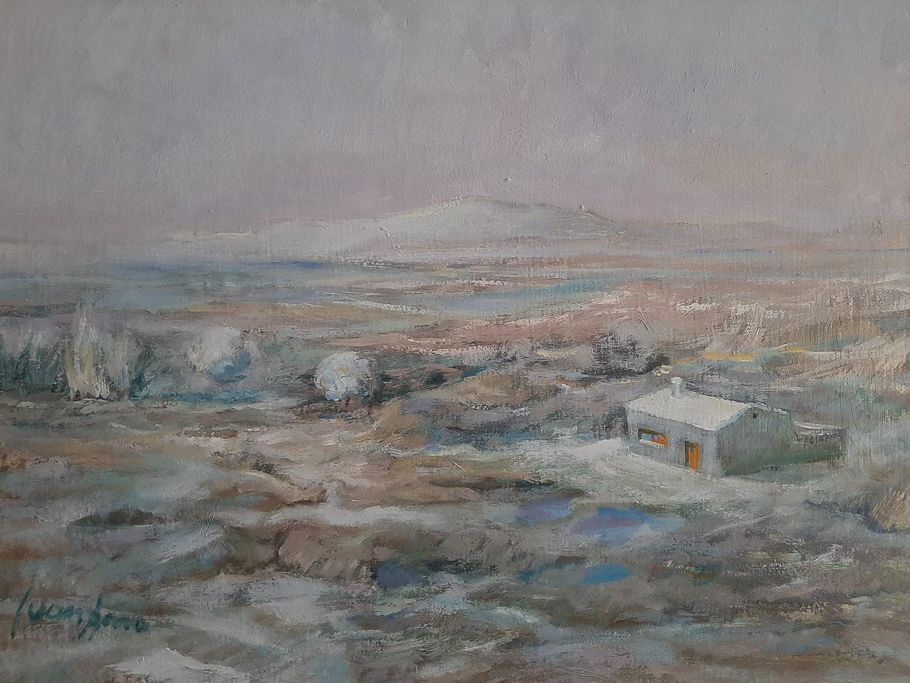 Juan Amo. (1988). Frío Invierno en La Mancha. Óleo - Lienzo. 32 x 46. Colección Privada.