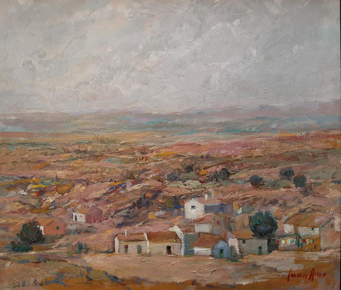 Juan Amo. (1991). El Pueblo Tranquilo. Óleo - Tabla. 39 x 43. Colección Privada.