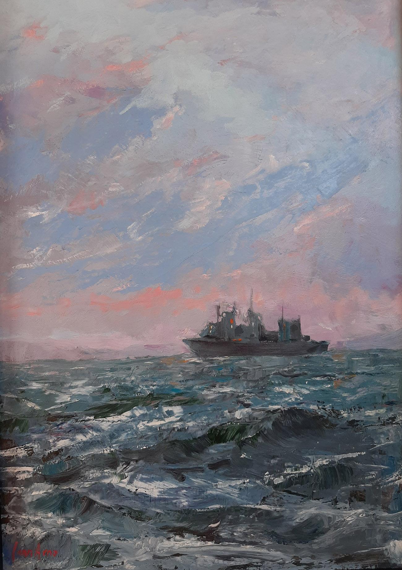 Juan Amo. (1992). V Centenario - Homenaje a la Armada. 45 x 36. Colección Privada.