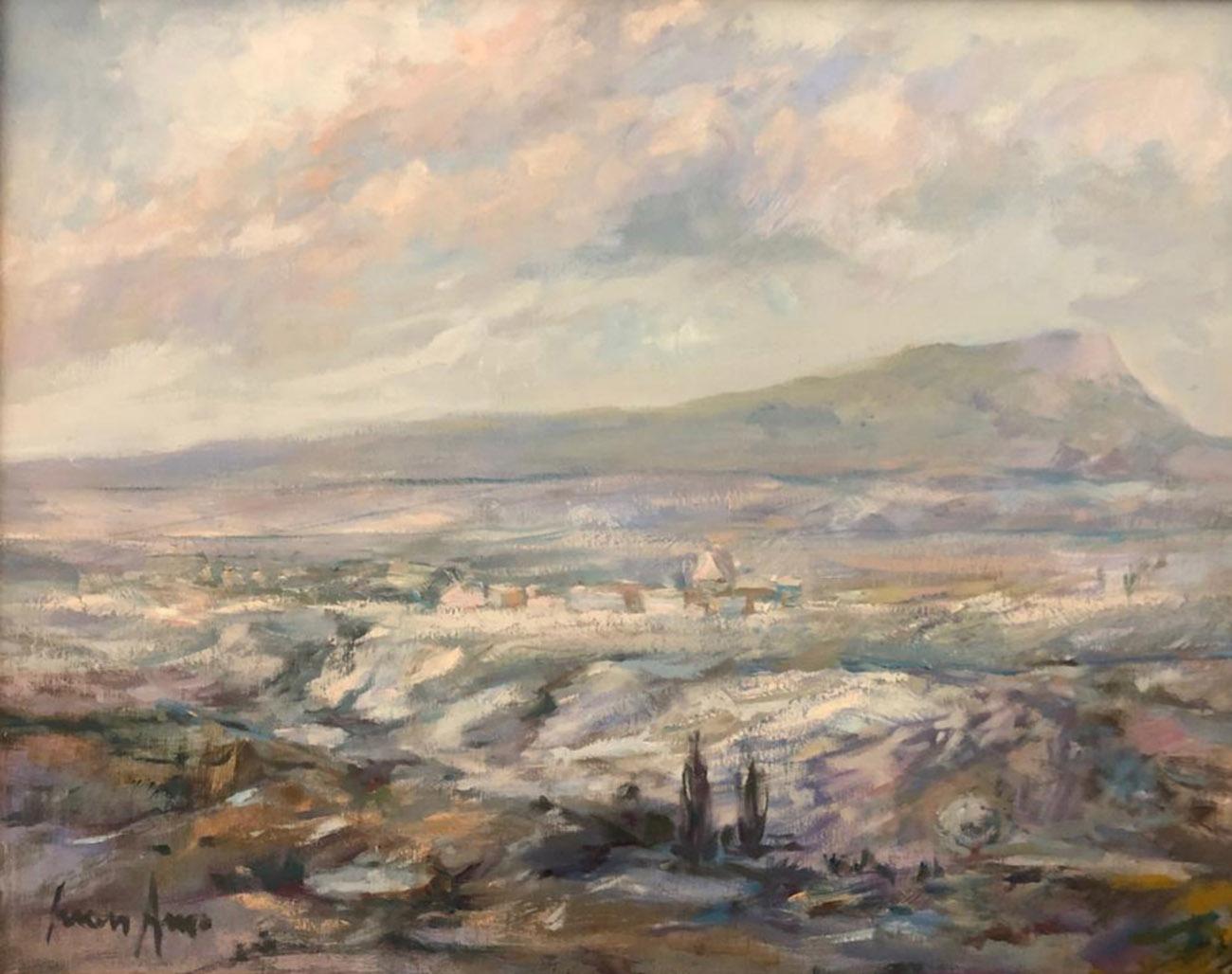 Juan Amo. (1993). Nevada y al fondo Chinchilla. Óleo - Tabla. 40 x 50. Colección Privada.