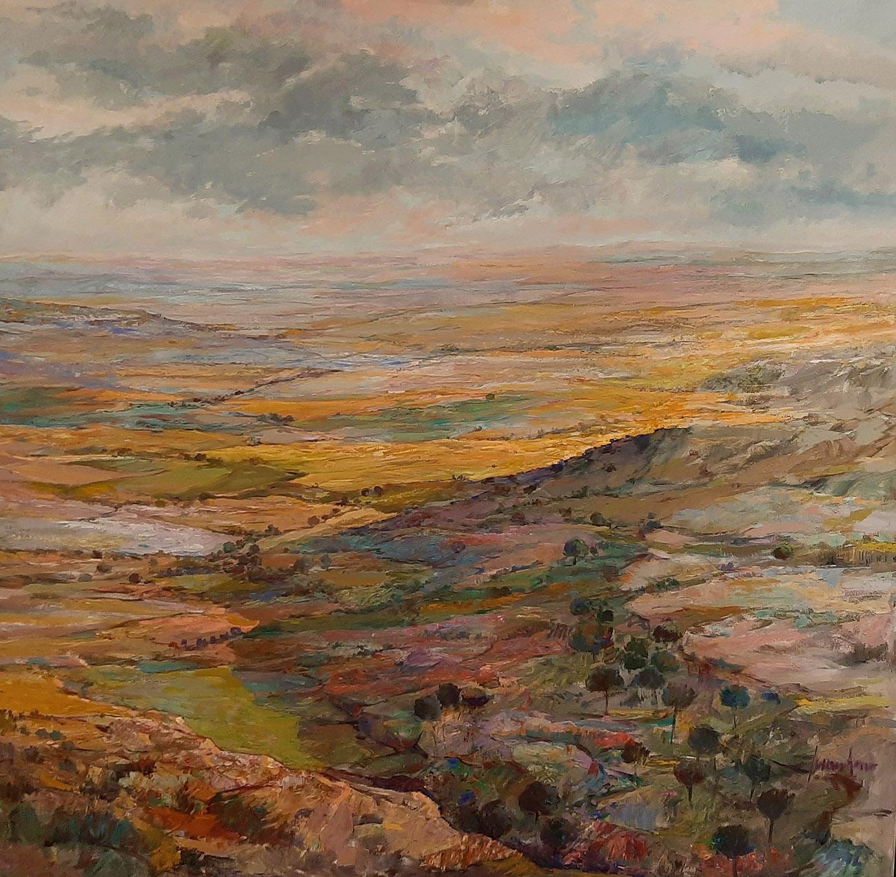 Juan Amo. (1997). La Mancha a vista de Pájaro. Óleo - Lienzo. 146 x 146. Colección Privada.