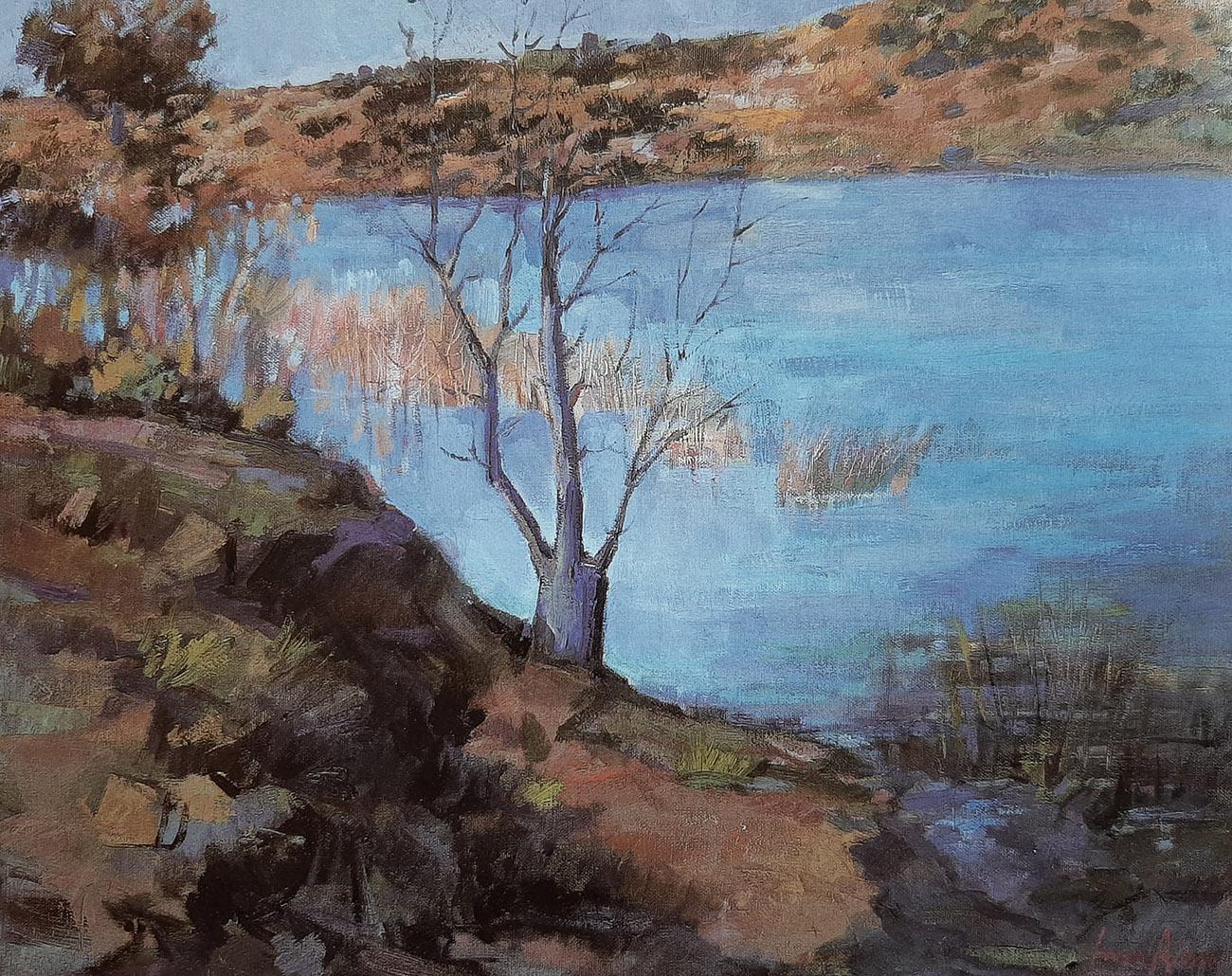 Juan Amo. (1998). Laguna de Ruidera. Óleo - Lienzo. 50 x 61. Colección Privada.