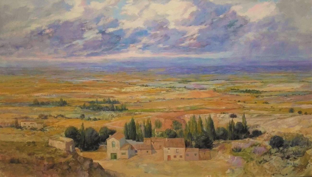 Juan Amo. (2004). El Cortijo. Óleo - Lienzo. 120 x 195. Colección Privada.