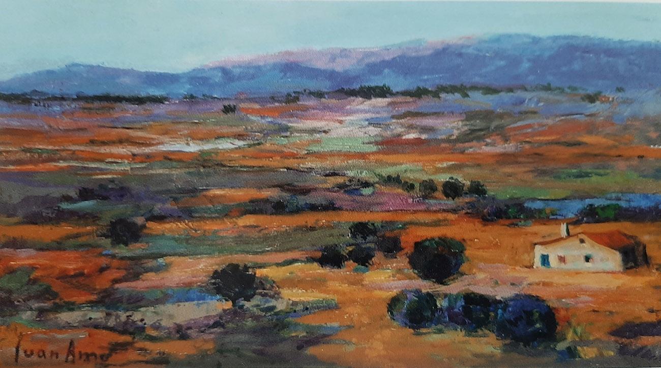 Juan Amo. (2005). Tierra de La Mancha Serrana. Óleo - Tabla. 18 x 33. Colección Privada.