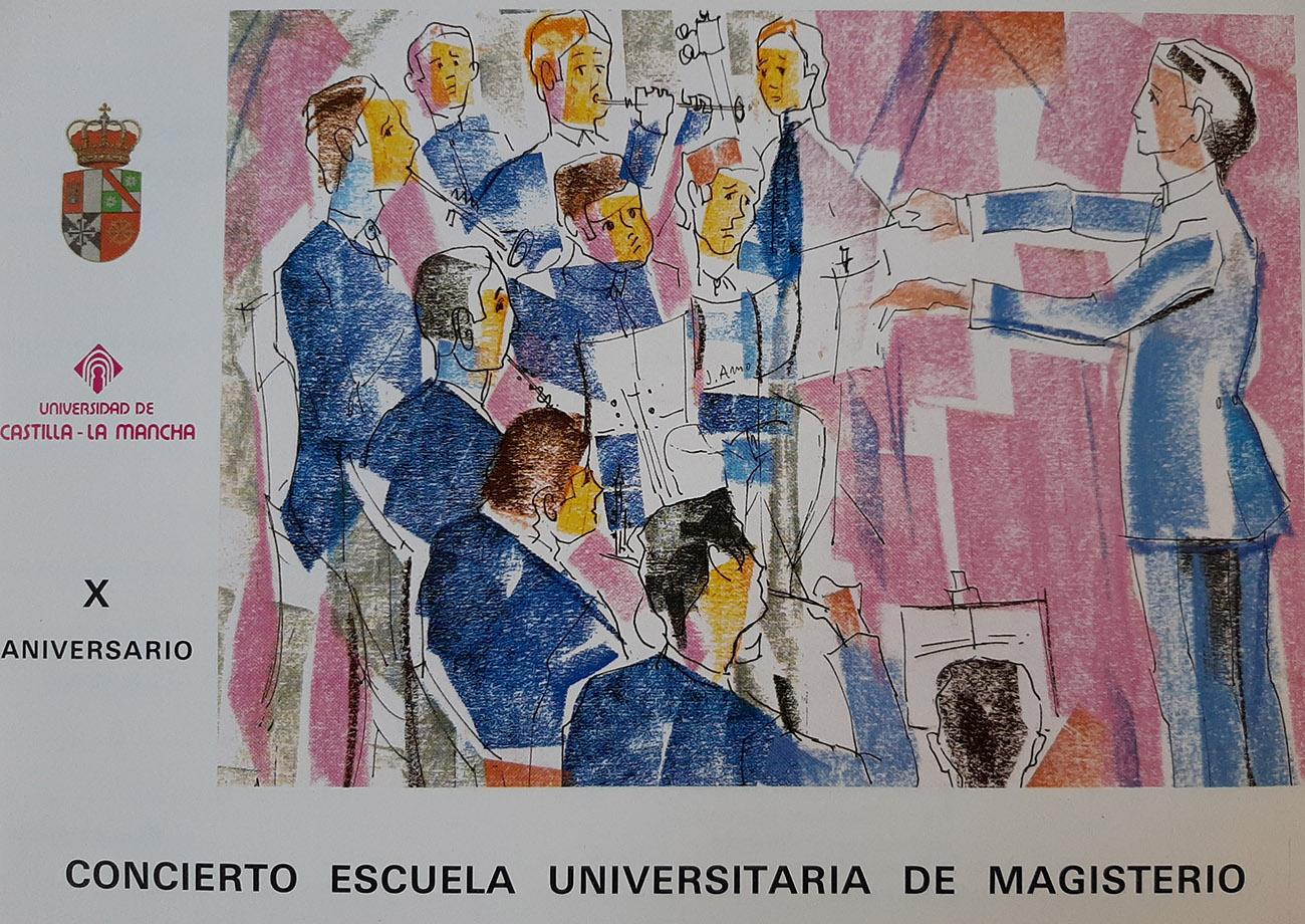 Juan Amo. CARTEL. X Aniversario Escuela de Magisterio.