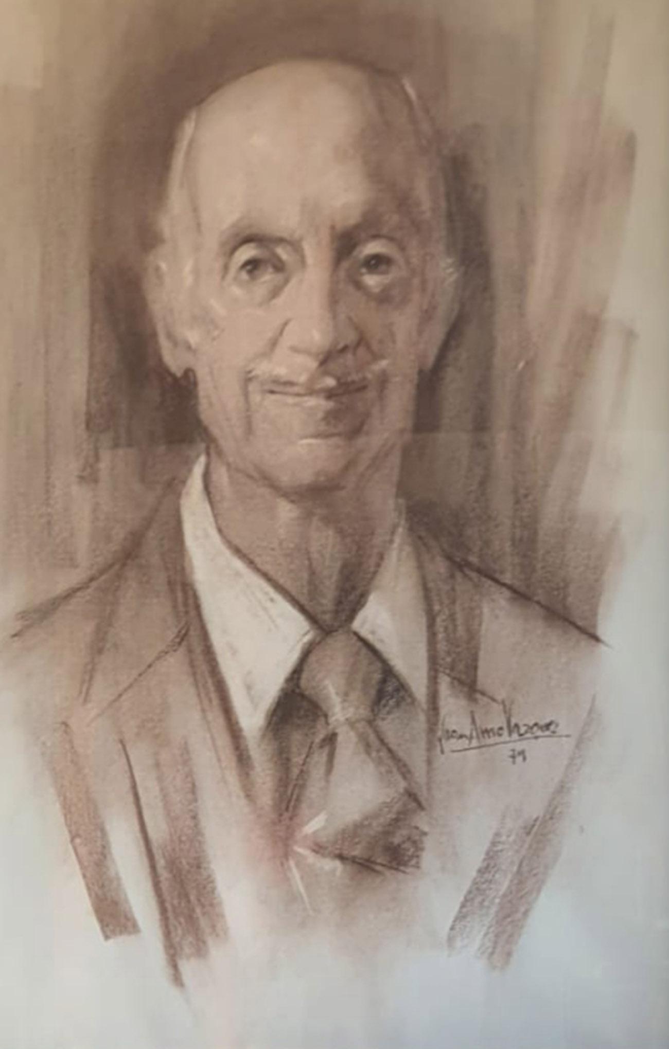 LUIS SIMÓN PEÑA. Retrato Dibujo de Juan Amo.