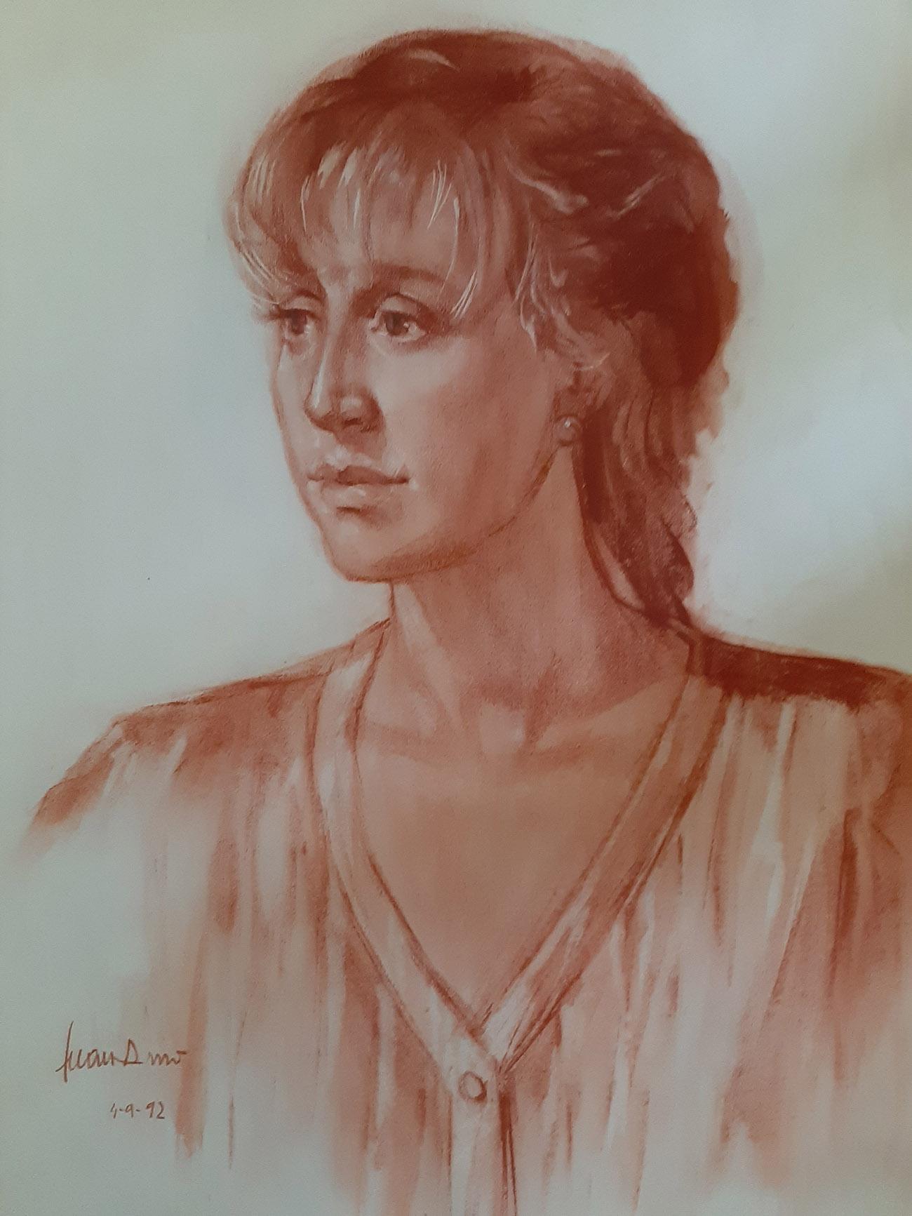 MARÍA AMO SAUS. Retrato Dibujo de Juan Amo.