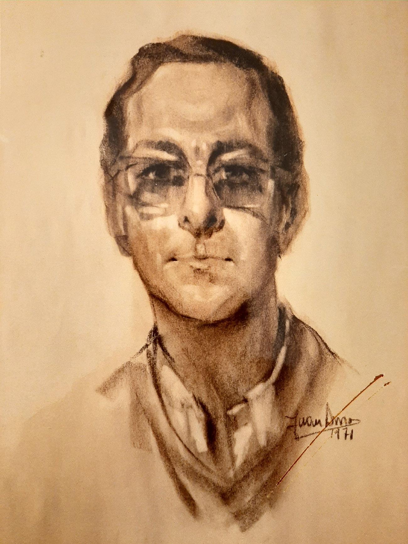 MATÍAS MARTÍNEZ OLMOS. Retrato Dibujo de Juan Amo.