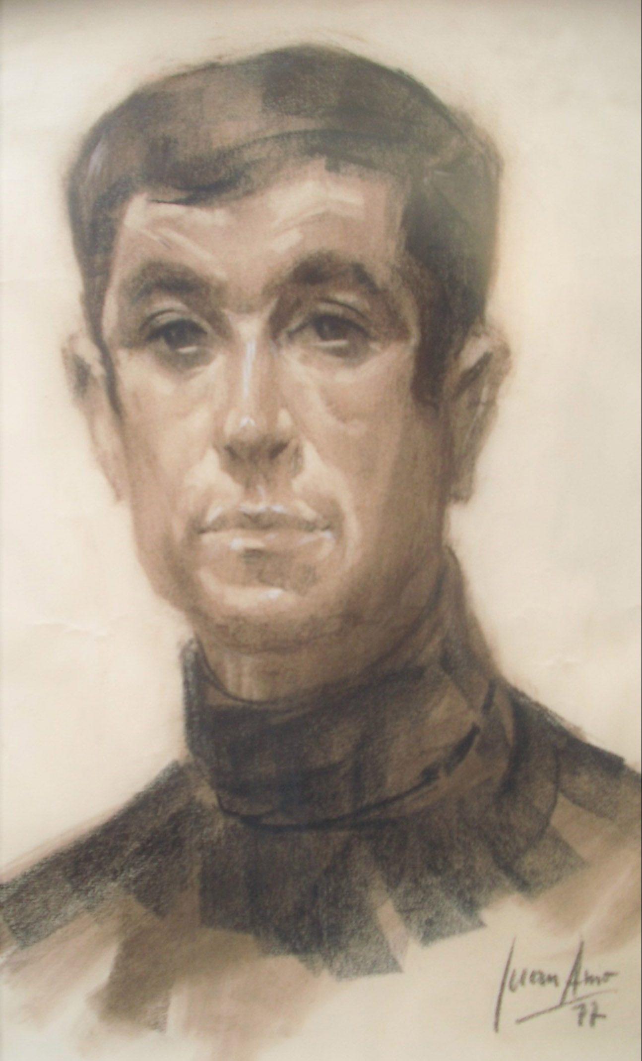 PACO PÉREZ MORENO. Retrato Dibujo de Juan Amo.