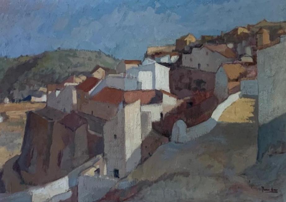 Juan Amo. (1974). Pueblo. Óleo - Lienzo. Colección Privada.