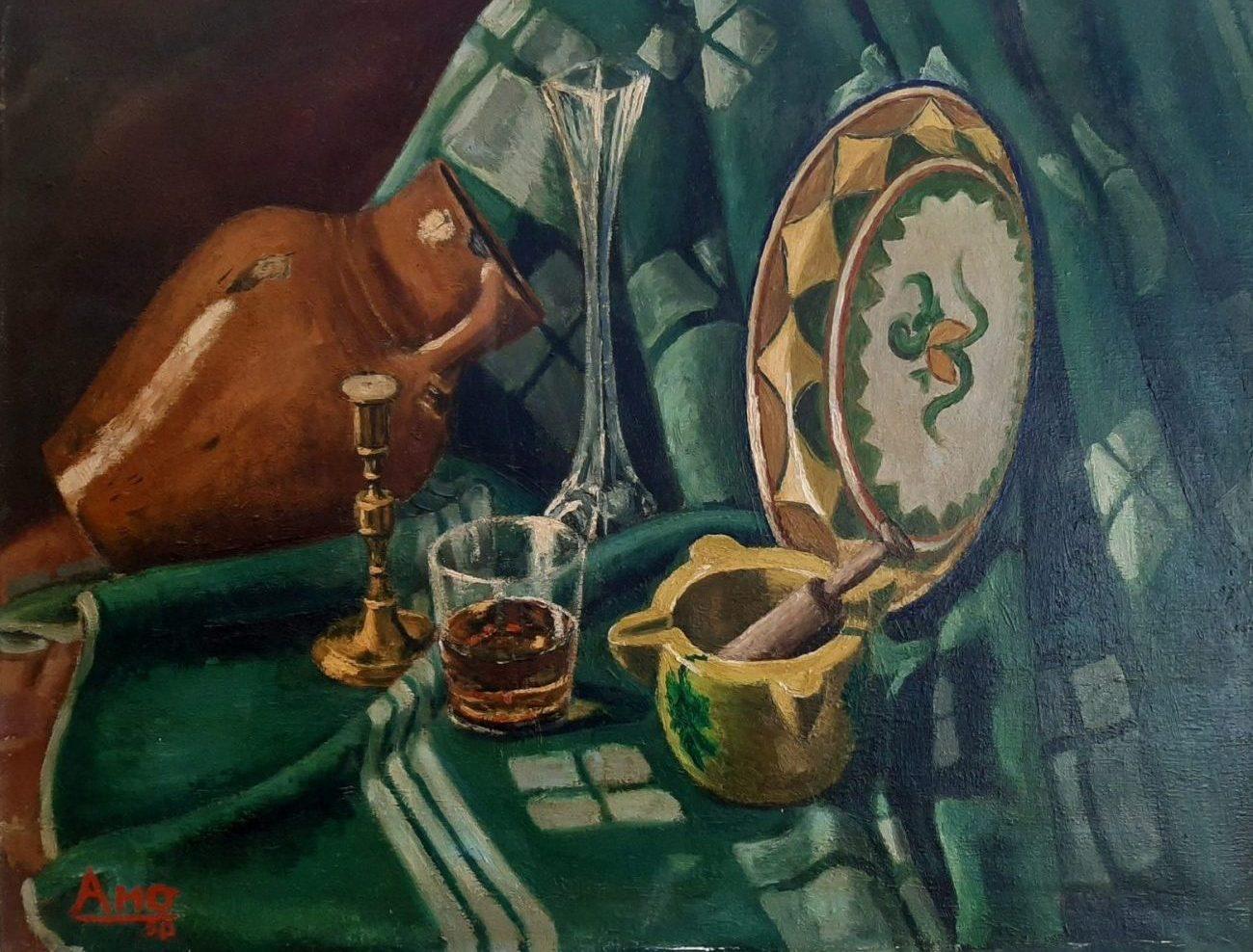 Juan Amo (1950). Bodegón. Óleo - Lienzo. Colección Privada.