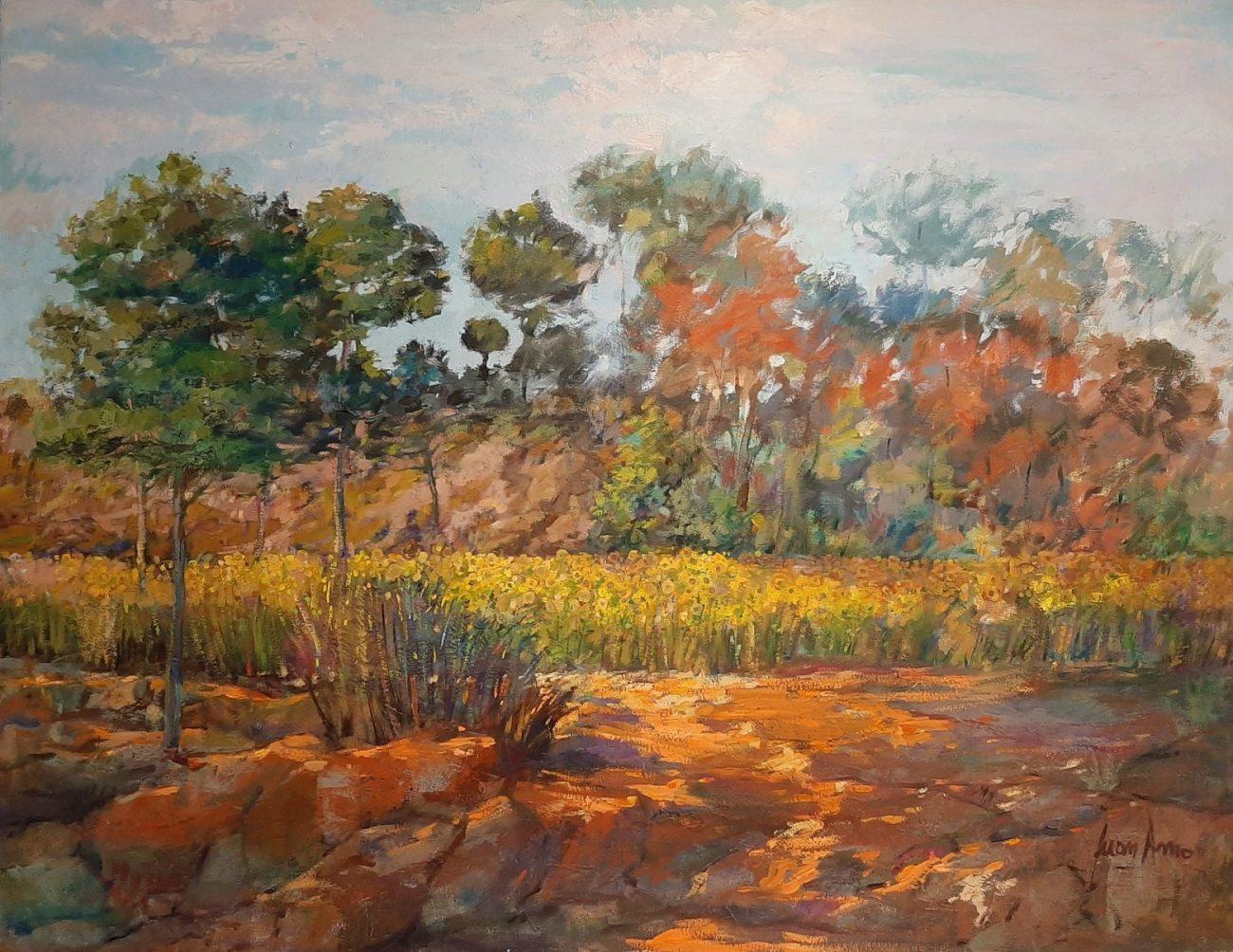 Juan Amo. (1996). Girasoles. Óleo - Lienzo. 89 x 116. Colección Privada.
