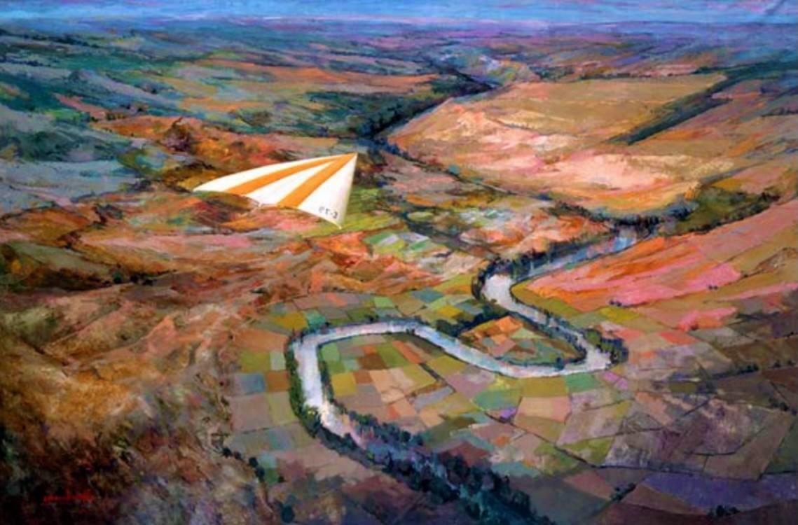 Juan Amo. (1980). Espacio para el vuelo. Óleo - Lienzo 130 x 195. Museo Municipal de Alcázar de San Juan.